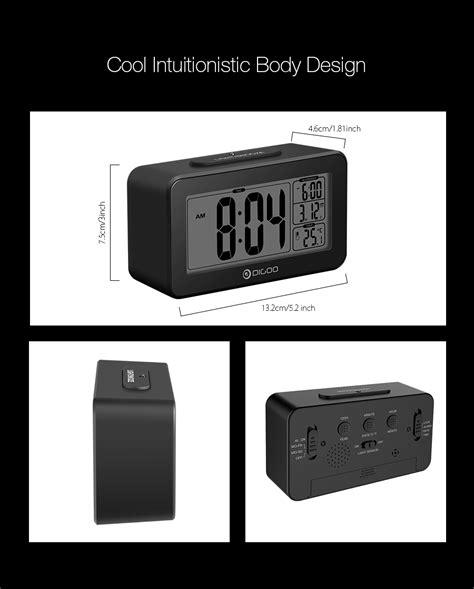 light sensitive alarm clock digoo digital sensitive white lcd thermometer alarm