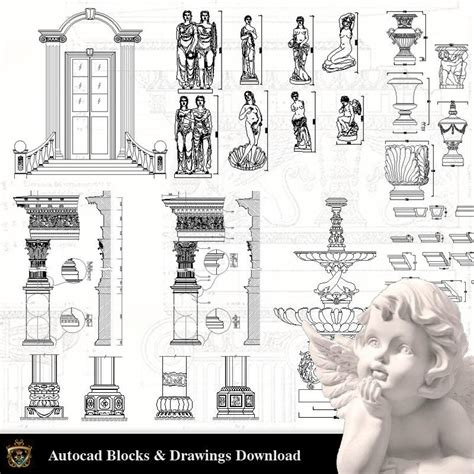 architectural decoration elements cad blocks bundle