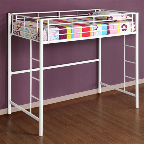 walker edison steel twin size loft bed white btolwh