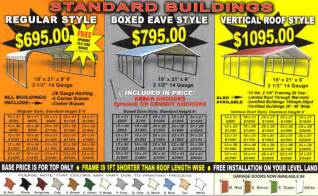 metal carport prices steel carport prices alan s