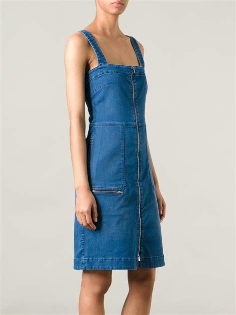 stella denim dress stella mccartney denim pinafore dress in blue lyst