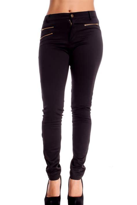 black side zipper pocket accent skinny pants