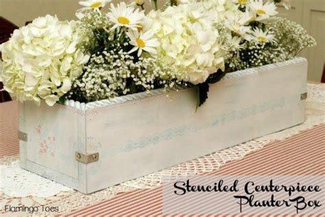 Planter Centerpiece by Stenciled Centerpiece Planter Box Planting Vegetables