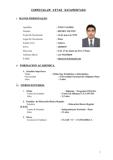 Resume For Students With No Job Experience by Ejemplos De Curriculum Vitae Fotos Formacion Academica