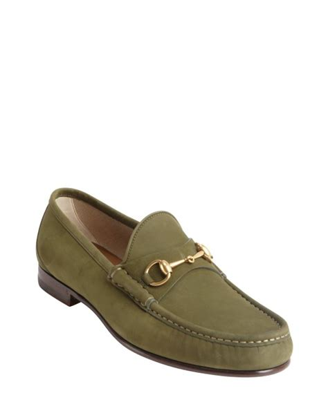 gucci slip on loafers gucci green suede moc toe horsebit slip on loafers in
