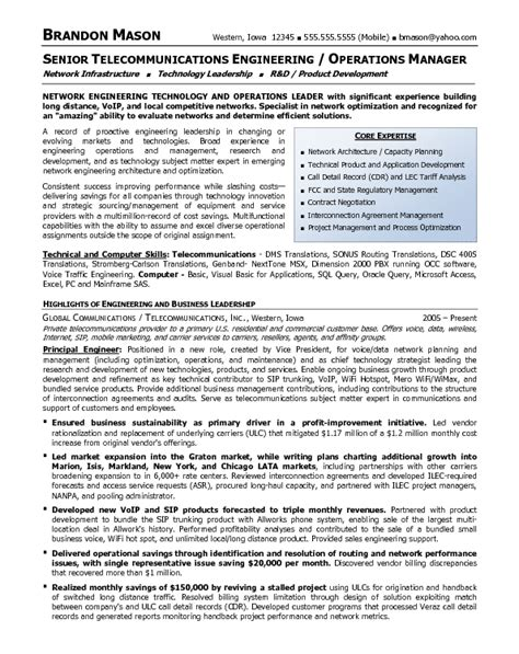 resume sle 13 senior telecommunications engineering operations management resume career
