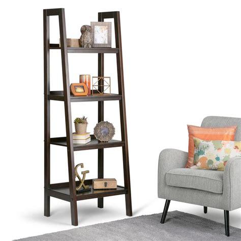 simpli home sawhorse chestnut brown ladder bookcase