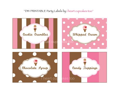 printable party labels 7 best images of ice cream food labels printable free