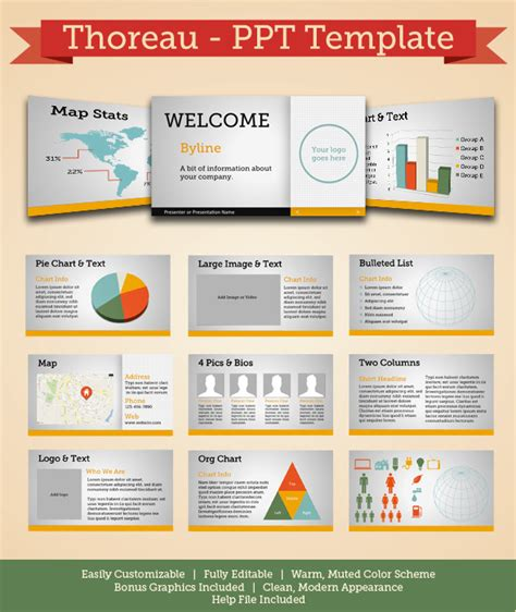 Thoreau Modern Powerpoint Template By Ashmgb Graphicriver Modern Ppt Template