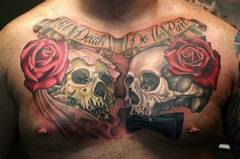 skull and rose tattoo for men 51 skull tattoos for and inspirationseek