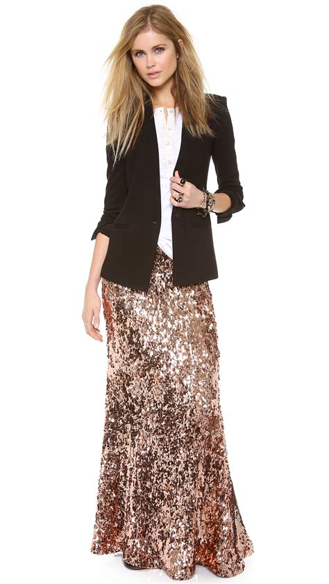 free people sequin skirt free sequins for maxi skirt in pink lyst
