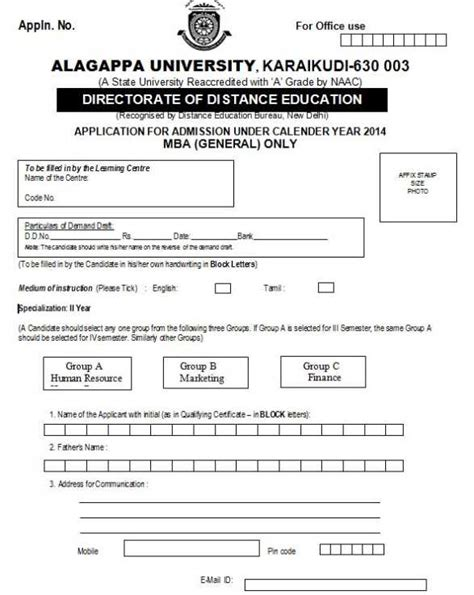 Alagappa Mba Fees Details distance education alagappa mba 2018 2019