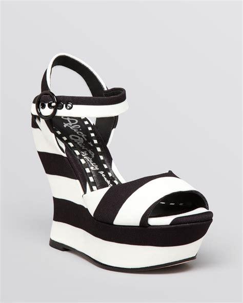 black and white wedge sandals lyst platform wedge sandals