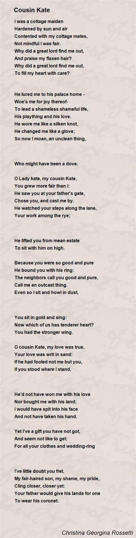 cousin kate poem  christina georgina rossetti poem hunter
