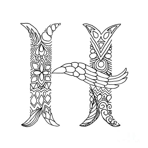 Letter H Drawing by Patterned Letter H Drawing By Alyssa Zeldenrust