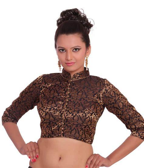 Jedar Blouse 2 N1 inblue fashions black brocade high neck blouse buy