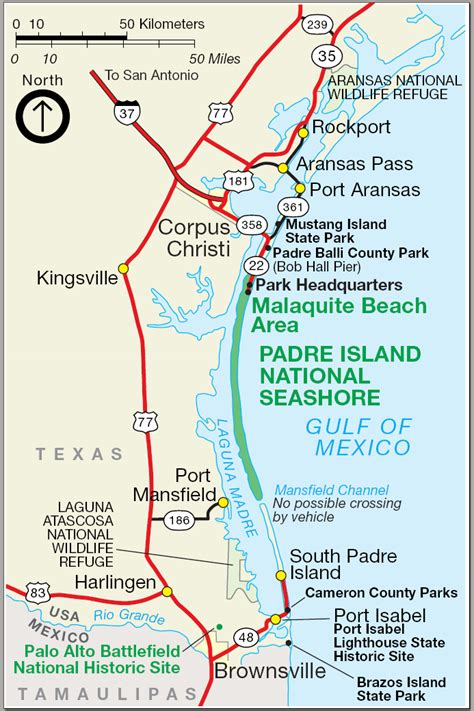 map of texas south padre island images