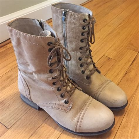 light colored boots 42 steve madden boots light colored leather combat