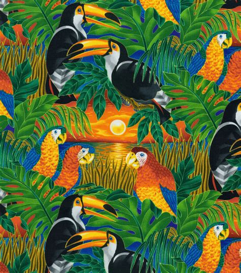 Fish Print Upholstery Fabric Jo Ann Stores Novelty Cotton Fabric Tropical Birds Jo Ann