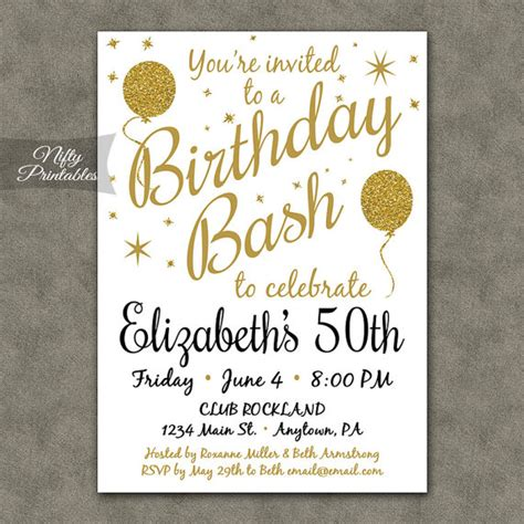 printable birthday invitations uk 50th birthday invitations printable white gold glitter