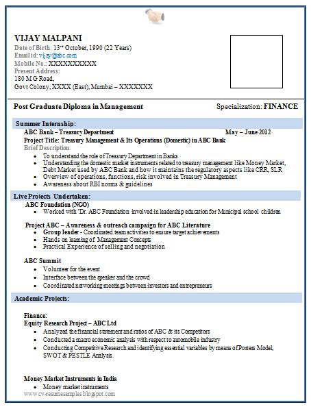 Mba Computer Science by Resume Format For Mba Freshers Pdf Annecarolynbird