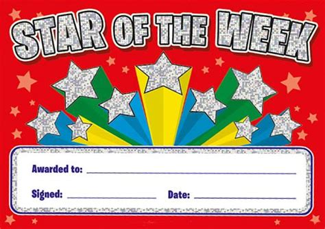 star of the week certificates sparkling