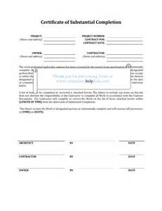 Certification Letter For Contractor Letter Of Substantial Completion Free Printable Documents