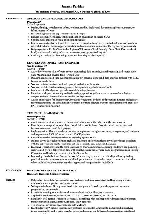 Devops Resume by Lead Devops Resume Sles Velvet