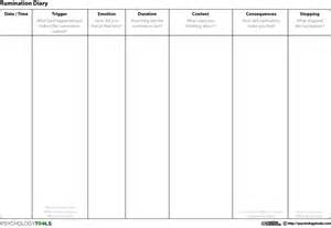 rumination diary cbt worksheet psychology tools