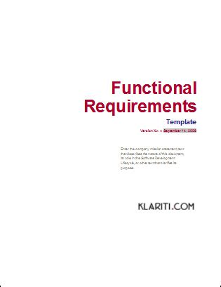 12 Ms Word Templates For Requirements Phase Of Software Development Lifecycle Functional Requirements Document Template