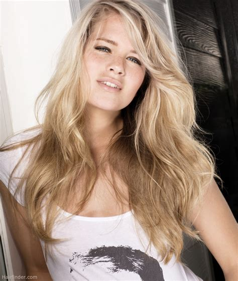 platinum blonde on the bottom and dark blonde om the top natural style for long blond hair