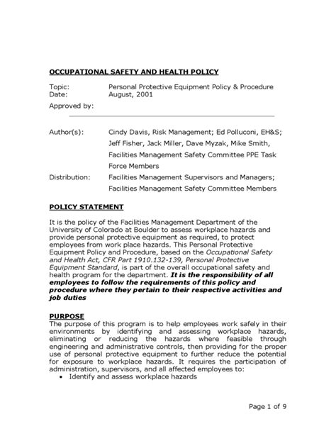 2018 Policy Template Fillable Printable Pdf Forms Handypdf Safety And Health Program Template