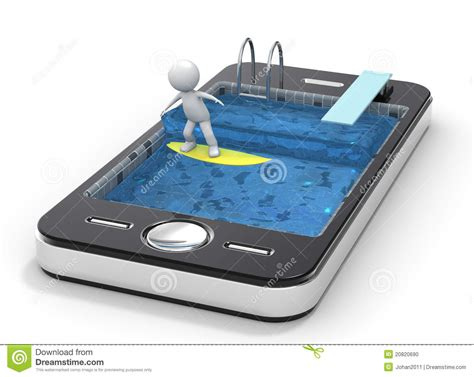 pictures mobile surfing with your mobile phone 3d human ch stock