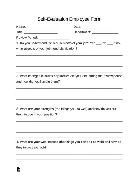 self evaluation self evaluation employee form eforms free fillable forms