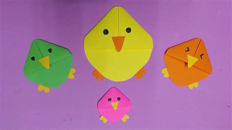 Color Paper Crafts - how to make chicken with color paper diy chicken