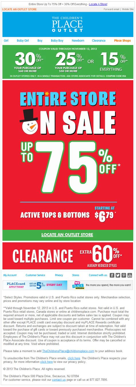printable children s place outlet coupons the children s place outlet 15 30 off printable coupon