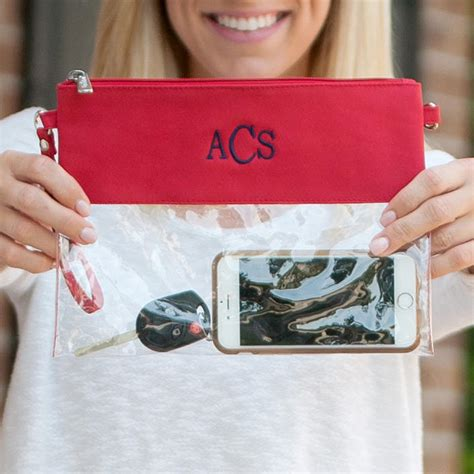 red clear zip pouch cosmetic bag