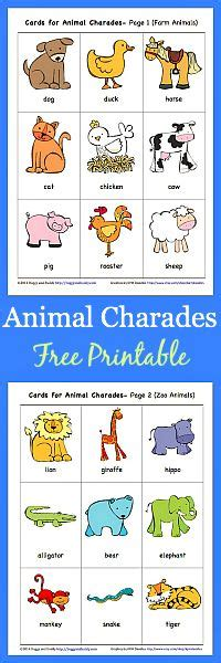 printable animal walk cards animal charades for kids free printable jungle animals