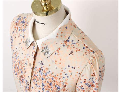 Kemeja Motif Wanita T40014 kemeja wanita motif bunga cantik model terbaru jual murah import kerja