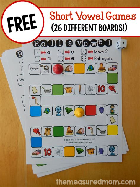 printable short vowel board games 26 free games that teach short vowel sounds the