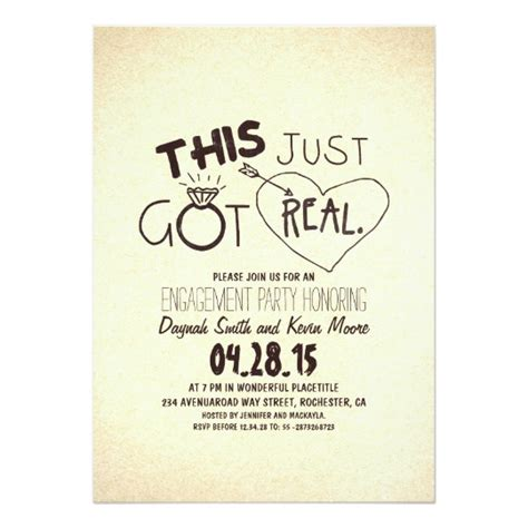 Humorous Wedding Announcement Wording by Engagement Invitation This Just Got Real Zazzle