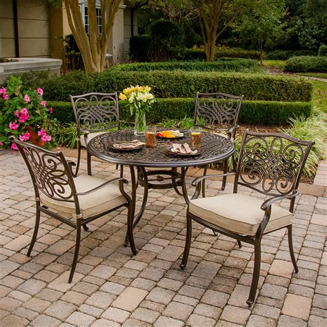aluminum outdoor furniture sets shop hanover outdoor furniture traditions 5 bronze aluminum patio dining set at lowes