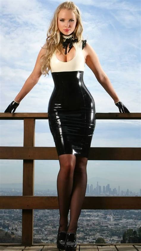 latex tutorial short black and white latex dress sheer black pantyhose and