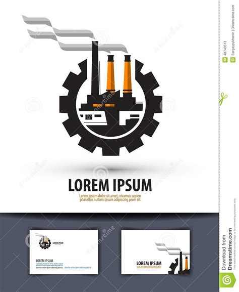 factory plant logo icon sign emblem template stock