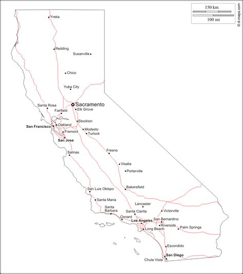California County Map Outline With Cities by California Free Map Free Blank Map Free Outline Map Free Base Map Outline Cities Roads