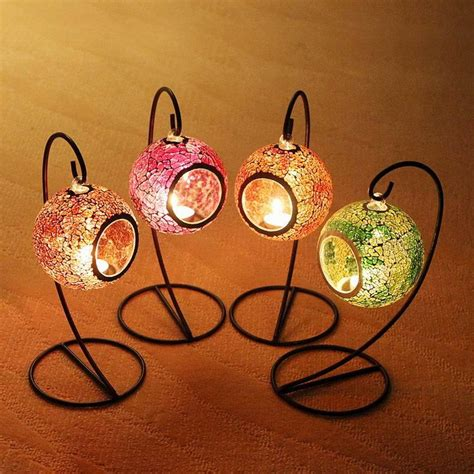 mosaic hanging lantern 4 colors candle lantern tealight candle holders outdoor candlestick