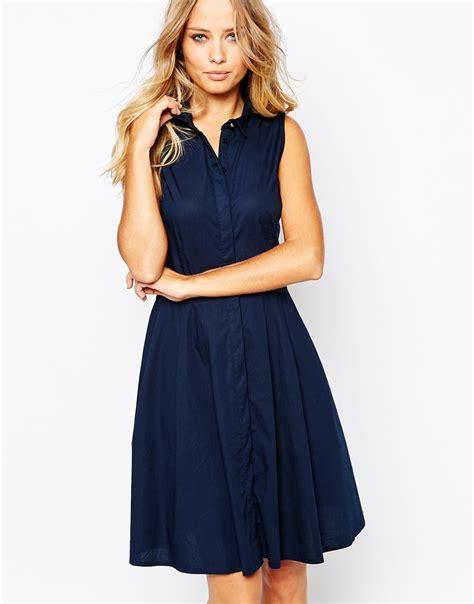 Sleeveless Shirtdress lyst y a s homie sleeveless shirt dress in blue