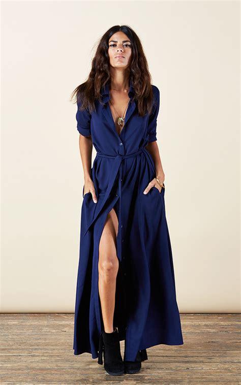 Dress Mesya Biru maxi shirt dress in navy silkfred