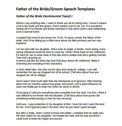 9 Father Of The Bride Speech Sles Sle Templates Groom Speech Template