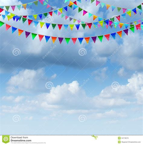 Special Edition Banner Flag Happy Birthday Merah bunting flags on a sky stock illustration image of clouds